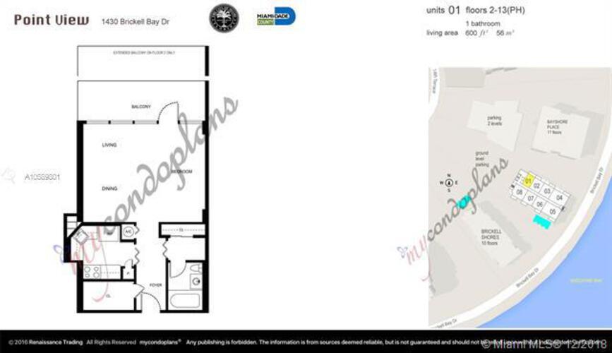 1420 S. Bayshore Drive, Miami, FL 33131, Bayshore Place #601, Brickell, Miami A10589801 image #1